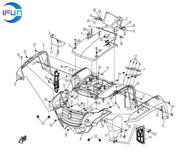 Cf Motor Cf500 Plastic Parts Cf Motor Atv Parts Cf Motor Utv Parts Chinese Atv Parts